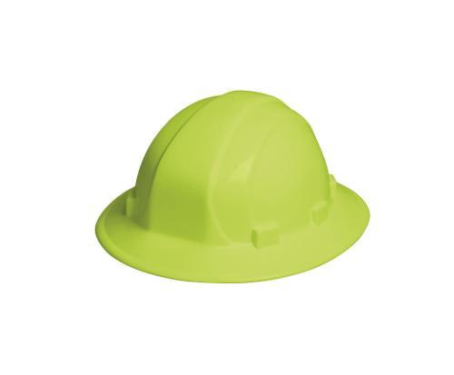 ERB Omega II Full Brim Hard Hat w/ 6-Point Slide-Lock Suspension - Hi-Viz Lime