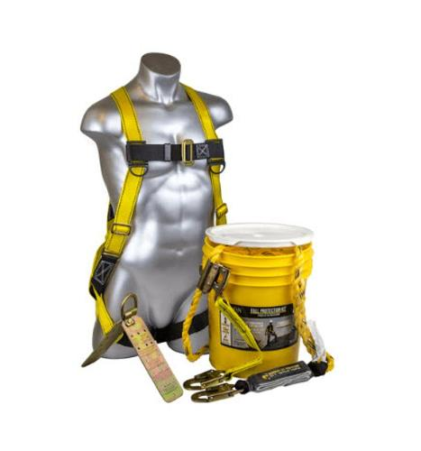 Guardian Fall Protection Bucket of Safe-Tie w/ 50 ft Vertical Lifeline Assembly & Temper Reusable Anchor- Small/Large