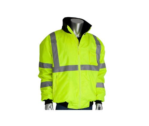 PIP ANSI Type R Class 3 Value Bomber Jacket w/ Zip-Out Fleece Liner / Hi-Vis Yellow - Small
