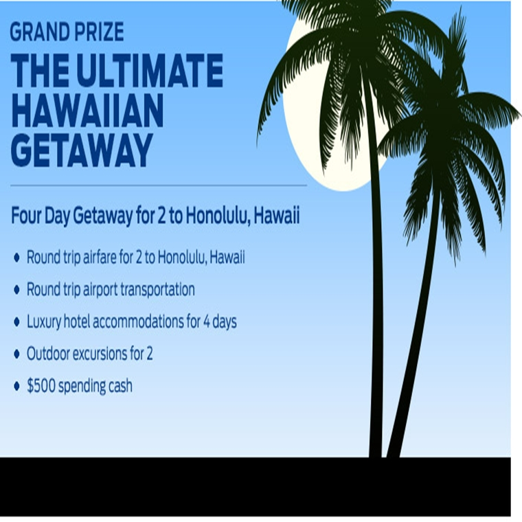 Win a ultimate Winter Hawaiian Getaway experience including round trip airfares for two, 3 nights lu