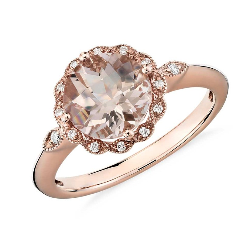 Win a The Morganite and Diamond Milgrain Halo Ring in 14k rose gold
