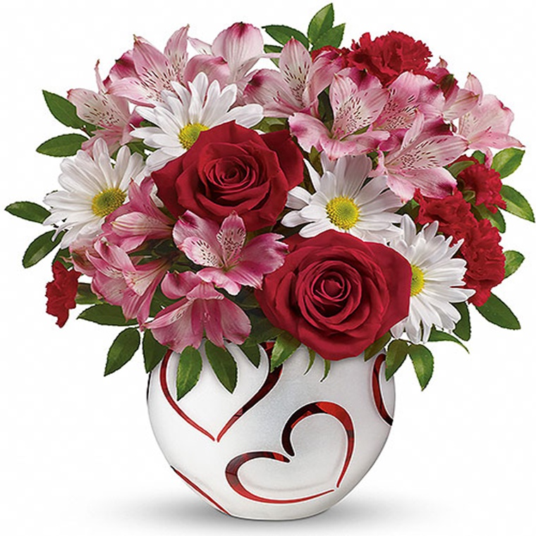 Win a this beautiful 'Pair of Hearts' bouquet of flowers by Teleflora