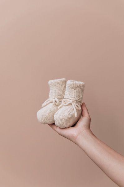Knitted Booties 0-6 mnd / Ecru
