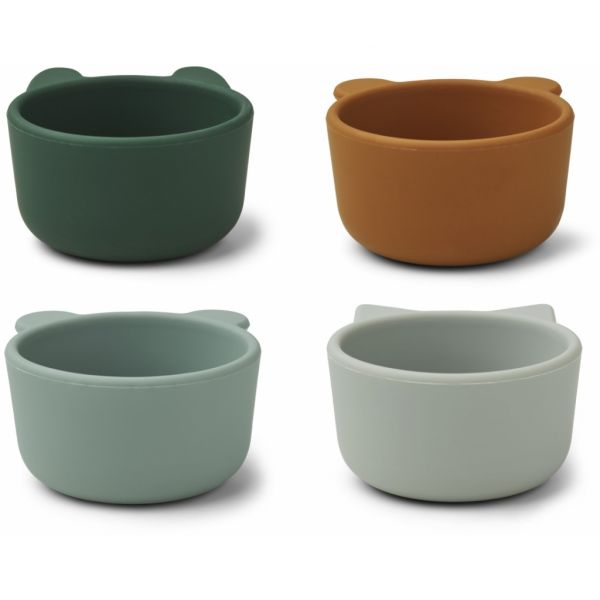 Malene Silicone Bowl 4-pack / Green Multi Mix
