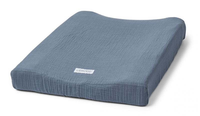Cliff Muslin Changing Mat Cover / Bleu Wave