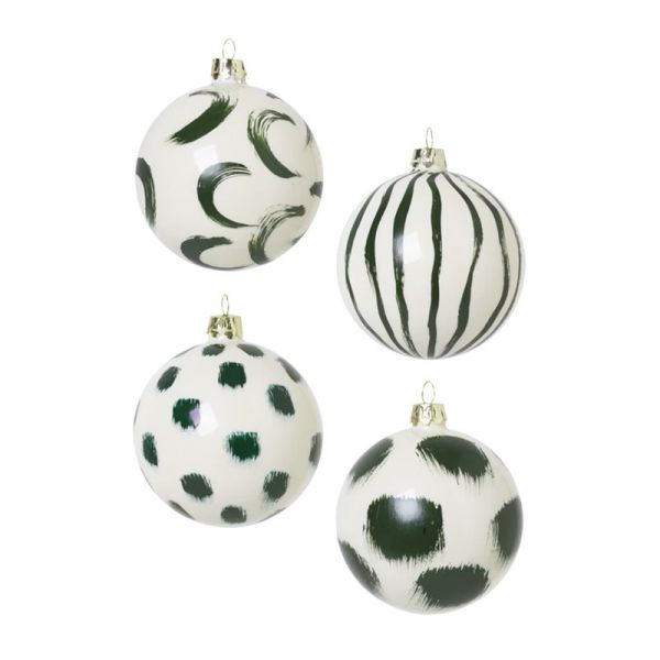 Christmas Hand Painted Glass Ornaments / Green