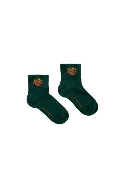 Tiny Dog Quarter Socks / Dark Green Sienna