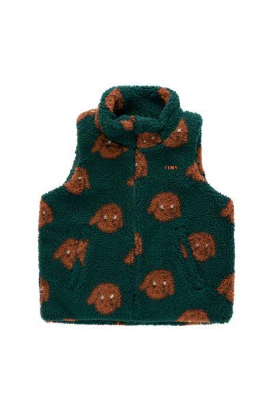 Tiny Dog Sherpa Vest / Dark green sienna