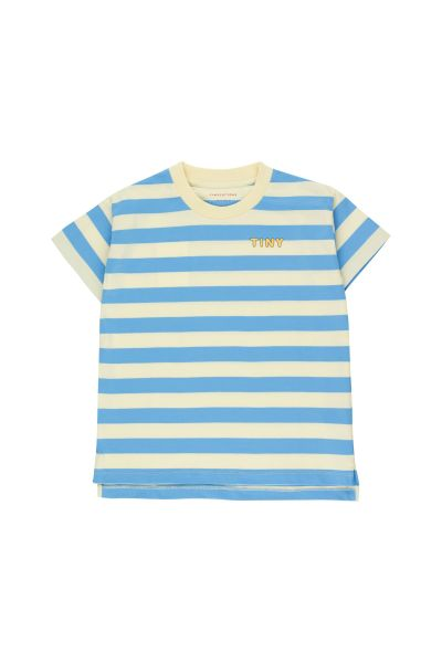 Tiny Stripes Tee / Lemonade - Cerulean Blue
