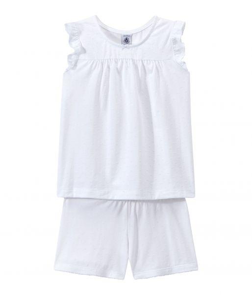 Pyjama 2 stuks / wit / ruffeltjes