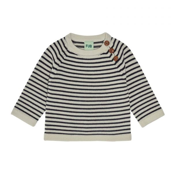 Baby Sweater / Ecru - Dark Navy