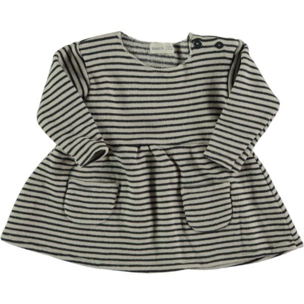 Ant Striped Warm Fleece Dress / Stone
