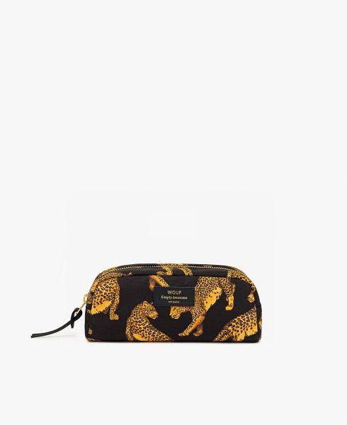 Small Makeup Bag / Black Leopard