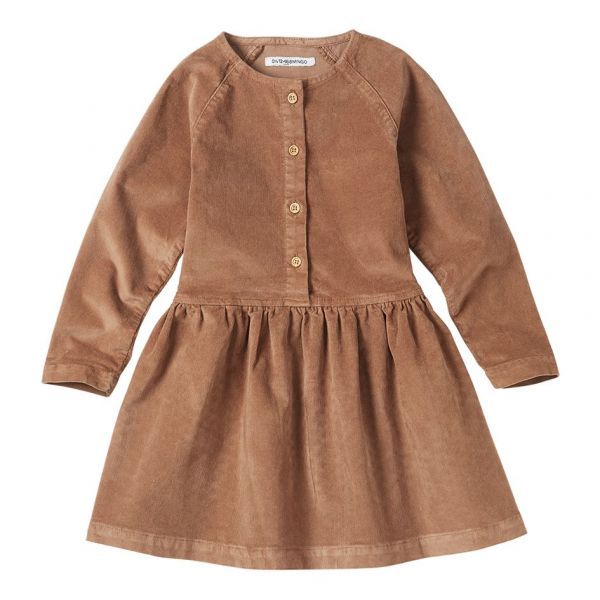 Corduroy Button Dress / Caramel