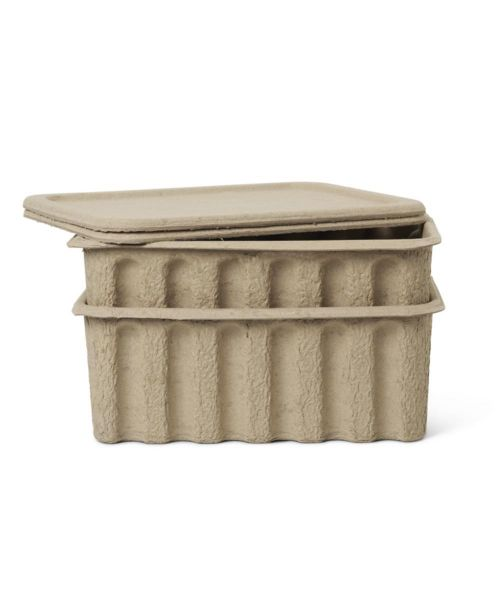 Paper Pulp Box / Large / Set of 2 / Brown