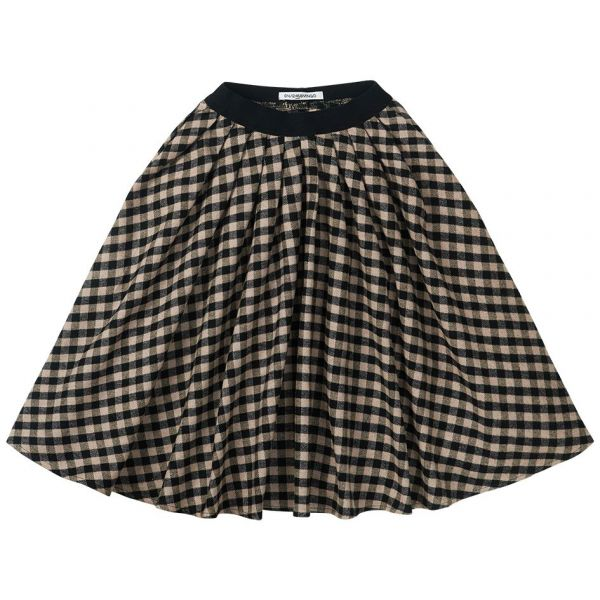 Flannel Checked Midi Skirt / Black / Caramel