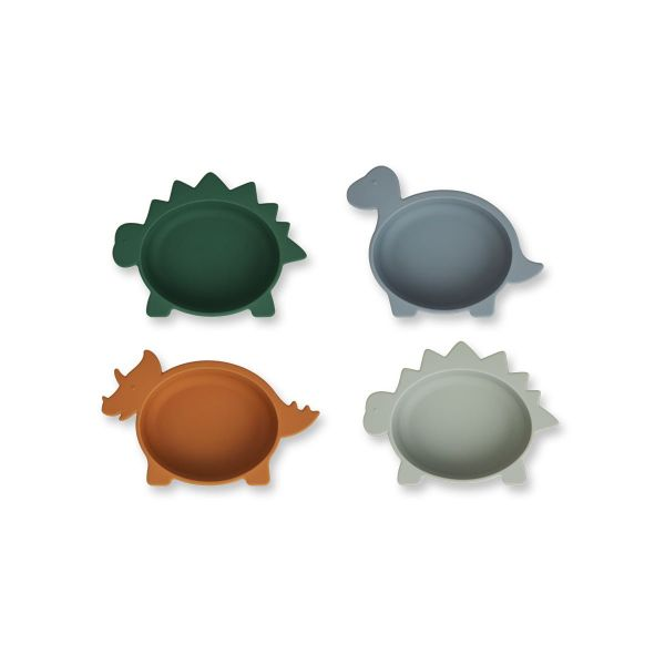 Iggy Silicone Bowl 4-Pack / Dino Blue Multi Mix