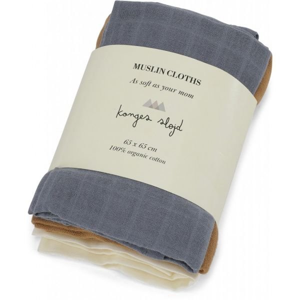 3 Pack Muslin Cloths / French Blue