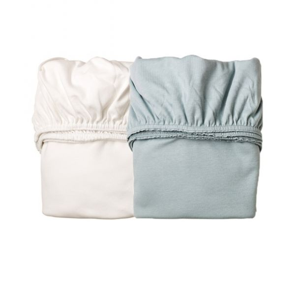 Sheet for cradle (2 pcs) Misty Blue / White