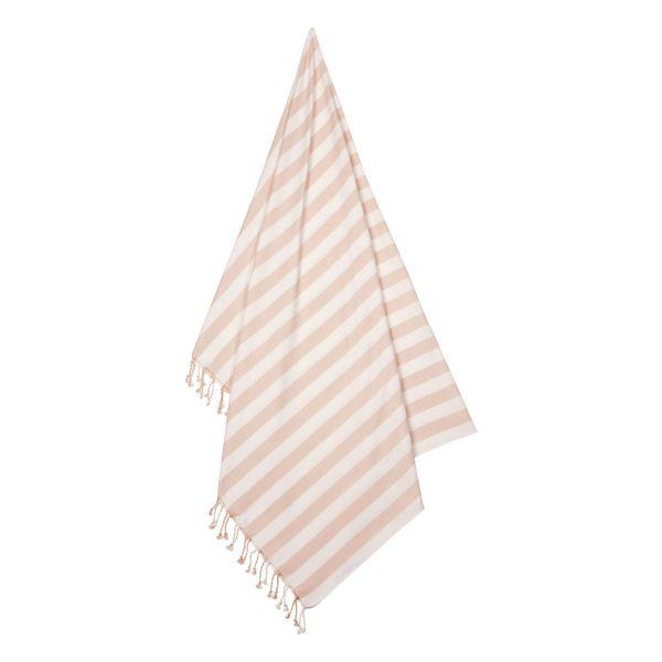Mona Beach Towel / Stripe Sorbet Rose - Creme de la Creme