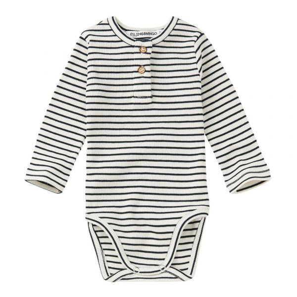 Rib Bodysuit Stripes / White - Black