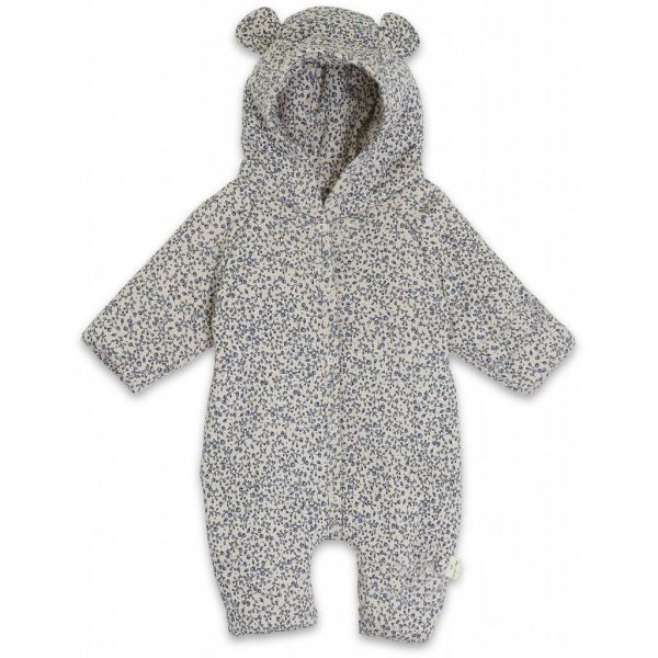 New Born Onesie With Hood / Blue Blossom Mist