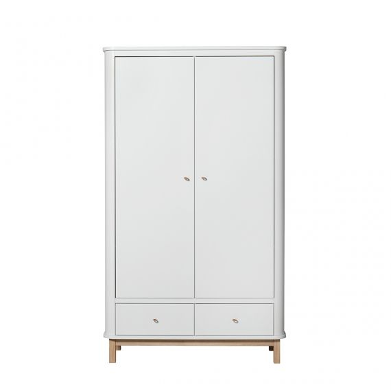 Wood wardrobe 2 doors - White/Oak
