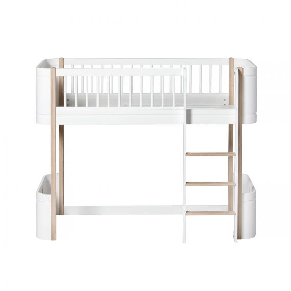 Wood Mini+ Low loft bed / Oak