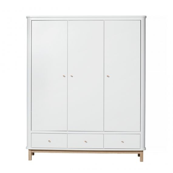 Wood Wardrobe 3 doors - White/Oak