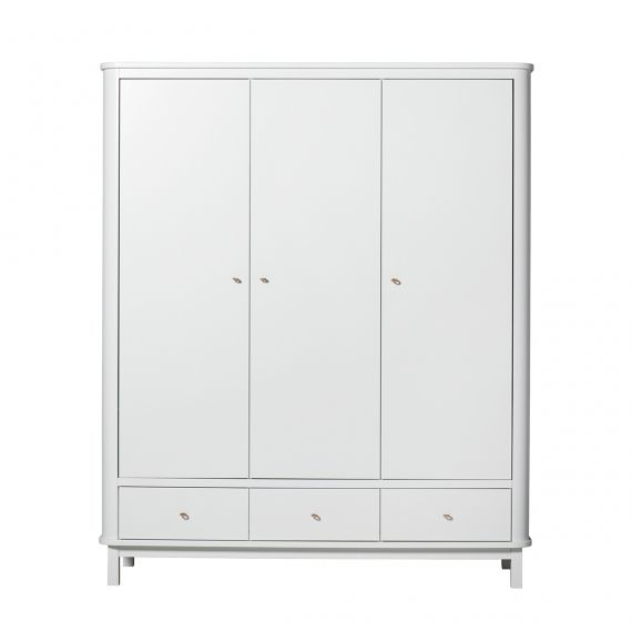 Wood Wardrobe 3 doors - White