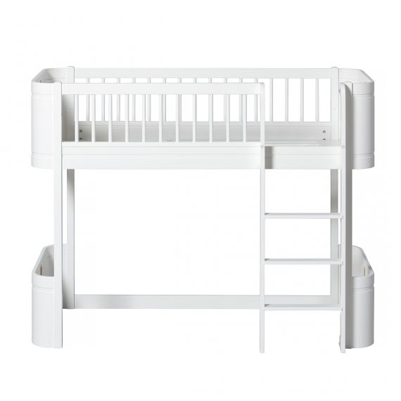 Wood Mini+ Low loft bed / White