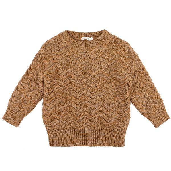 Chevron Knit Sweater / Antique Brass Melange