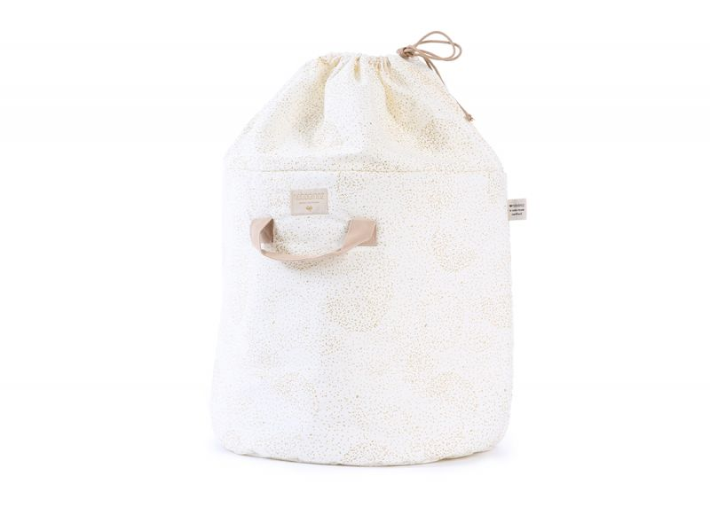 Bamboo Toy Bag Small / Gold Bubble - White