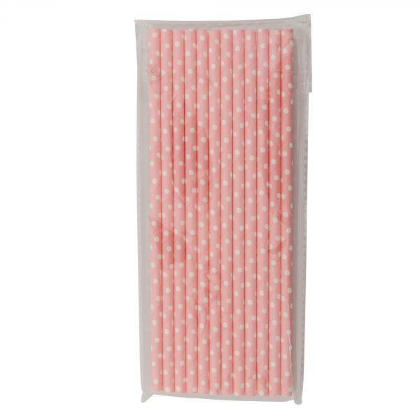 Strootjes roze met witte bolletjes