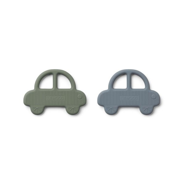 Geo Teether 2 Pack / Car Faune Green - Blue Wave