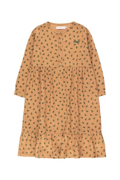 Tiny Flowers Dress / Light Brown Dark Green