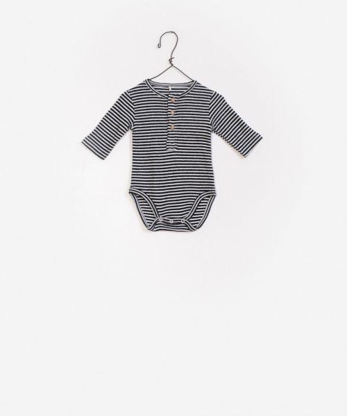 Striped Rib Bodysuit / Black-White
