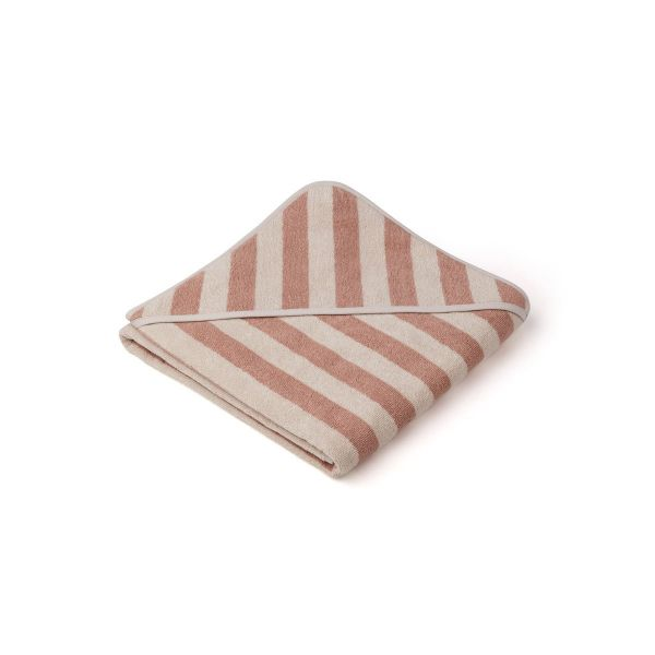 Louie Hooded Towel / Y/D Stripe Rose/Sandy