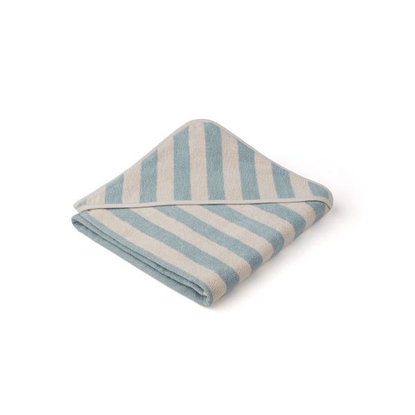 Louie Hooded Towel / Y/D Stripe Sea Blue/Sandy