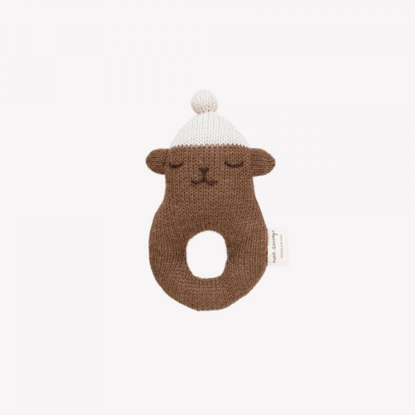 Rattle Teddy / Brown with white beanie