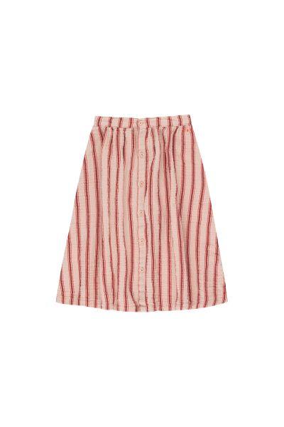 Retro Stripes Midi Skirt / Light Nude - Dark Brown