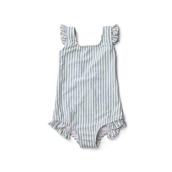 Tanna Swimsuit / Stripe Sea Blue White