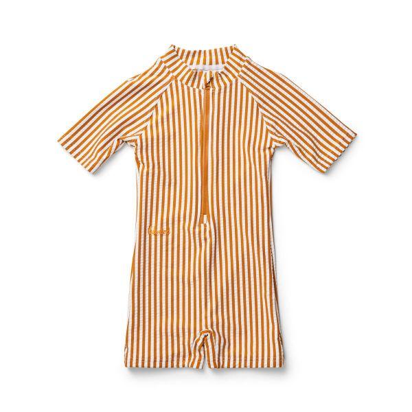 Max Swim Jumpsuit / Stripe Mustard White