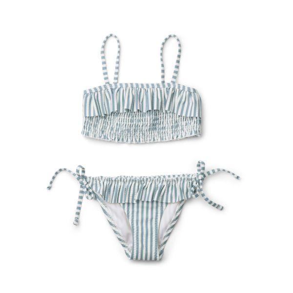 Riley Bikini Set / Stripe Sea Blue White