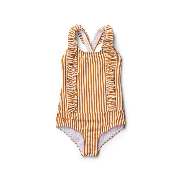Moa Swimsuit / Stripe Mustard White