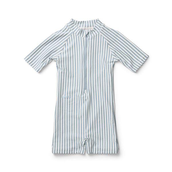 Max Swim Jumpsuit / Stripe Sea Blue White