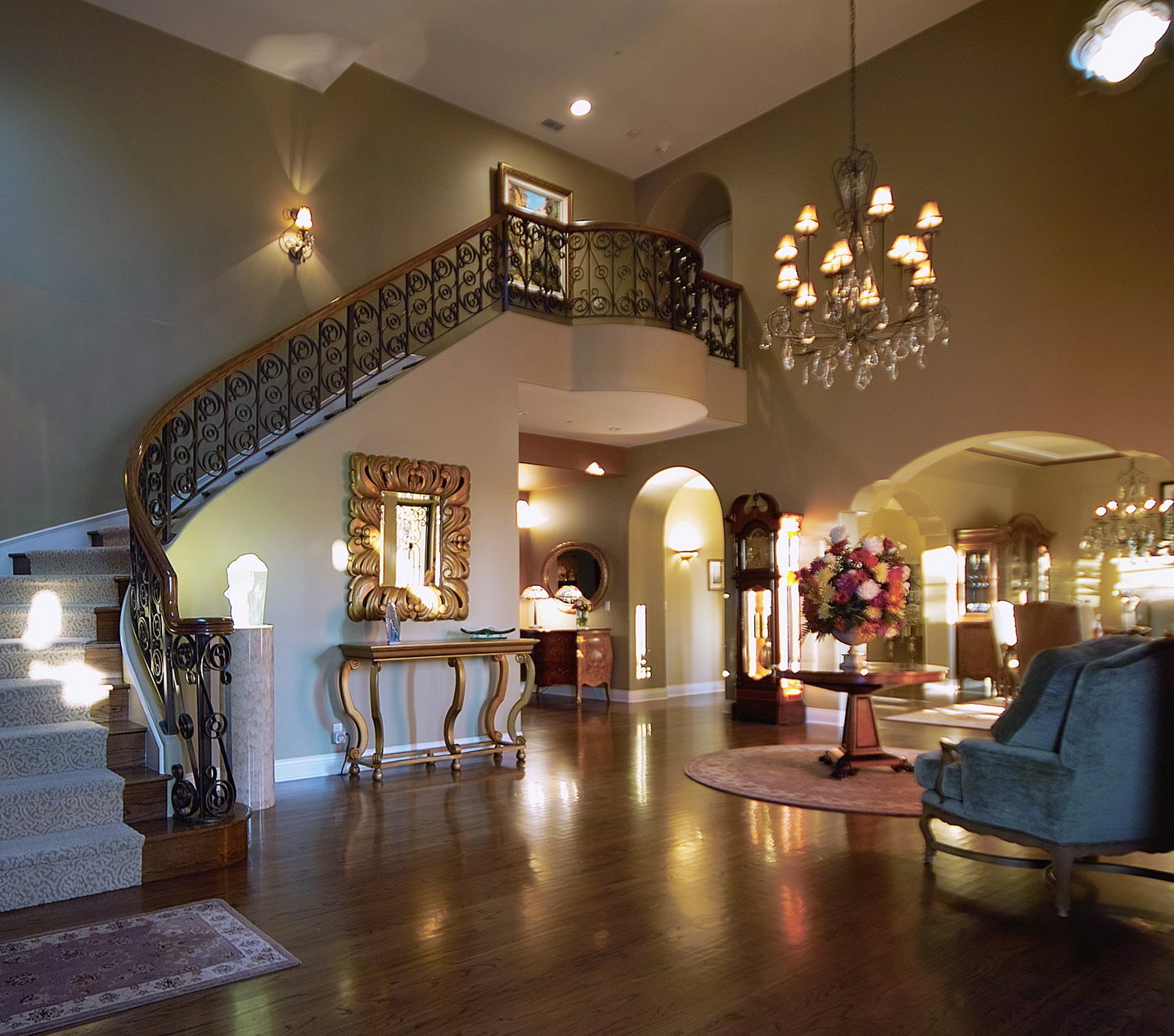 This is truly a grand foyer with unusual architectural