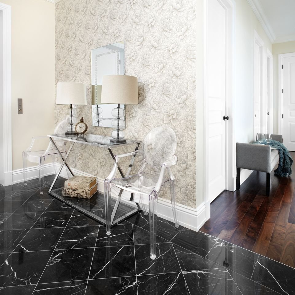What a statement making entrance Black marble tiled