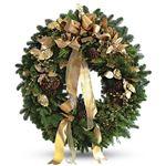 6447 - Golden Holiday Wreath Santa Maria CA delivery.