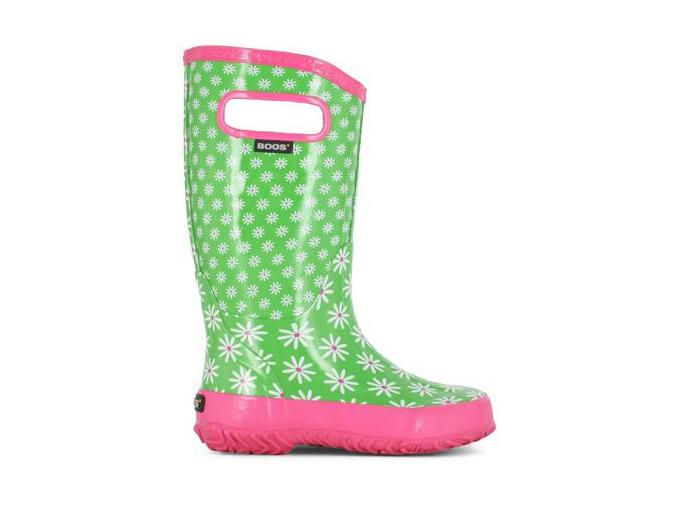 Bottes de pluie BOGS vert et rose avec fleurs pour fille